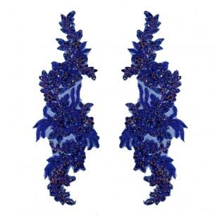 Applicazione Strass Sapphire su tulle Blu cm 34,5x10 - 1PZ