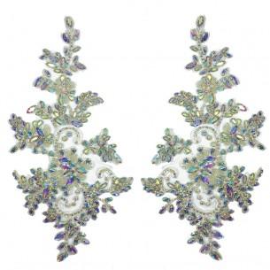 Applicazione Strass Aurora Boreale su tulle Bianco cm 27,5,x13 - 1PZ
