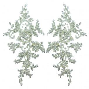 Applicazione Strass Crystal su tulle Bianco cm 29x12 - 1PZ