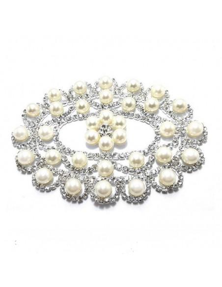 Applicazione Strass cm 10,5x7,8 Crystal-Perle-Silver - 1PZ