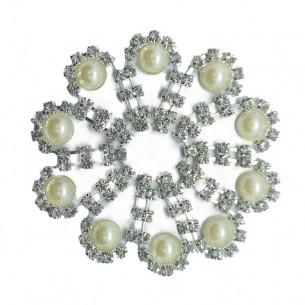 Applicazione Strass cm 7 Crystal-Perle-Silver - 1PZ