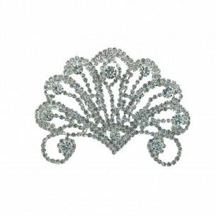 Applicazione Strass cm 8,3x6,5 Crystal-Silver - 1PZ
