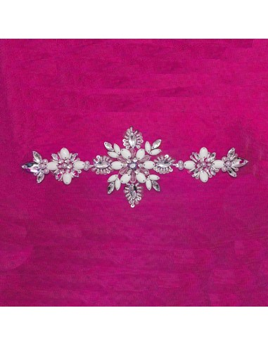 Strass application on tulle 25x9 cm -...