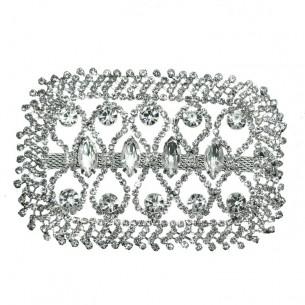 Applicazione Strass cm 6,7x10 Crystal-Silver - 1PZ