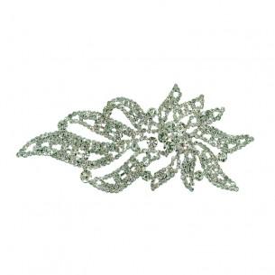 Applicazione Strass cm 7,3x16,5 Crystal-Silver - 1PZ