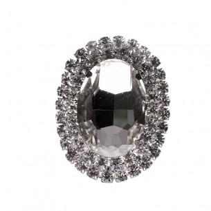 Pietra Ovale cm 3,5x4,5 Crystal-Silver - 1PZ