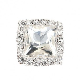 Pietra Quadrata cm 1,8X1,8 Crystal -Silver - 1PZ