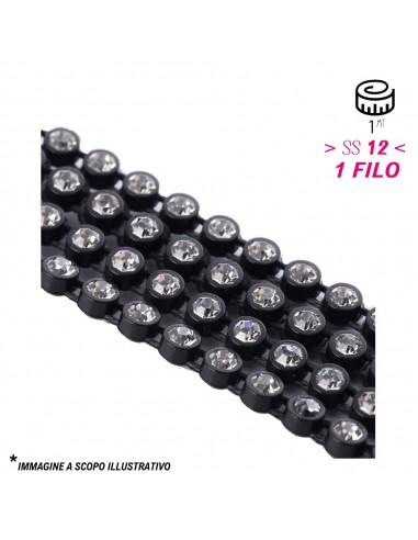Bordura Strass 1 Filo Elastico ss 12 (mm 3,20) Black-Crystal - 1MT