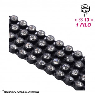 Bordura Strass su Filo Elastico ss 13 (mm 3,30) Black-Crystal - 1MT