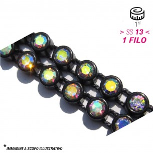 Bordura Strass su Filo ss 13 (mm 3,30) Black-Crystal AB - 1MT
