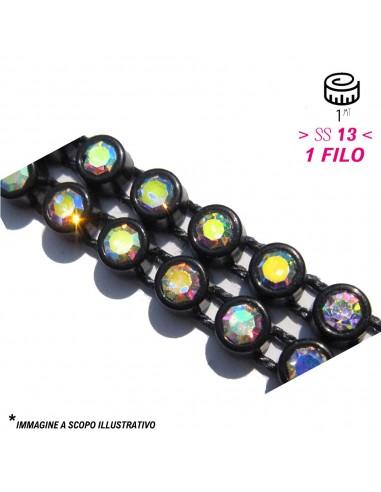 Bordura Strass su Filo ss 13 (mm 3,30) Black-Crystal AB - 1MT