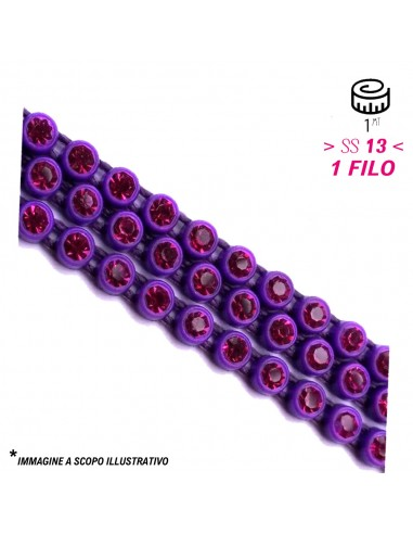 Bordura Strass su Filo ss 13 (mm 3,30) Purple-Amethyst - 1MT