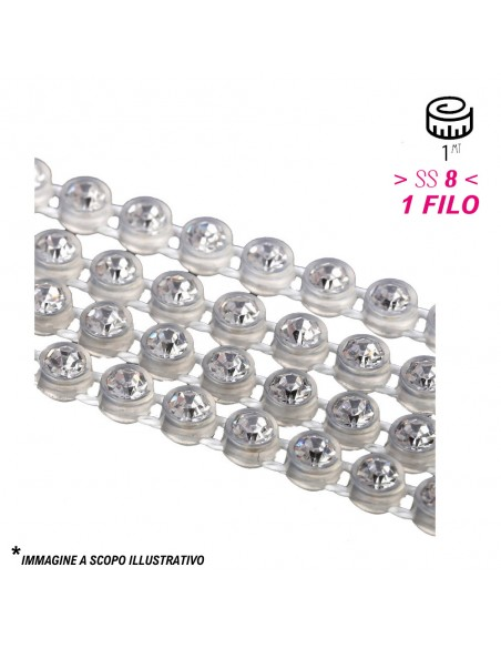 Bordura Strass 1 Filo ss 8 (mm 2,40) Trasparent-Crystal - 1MT