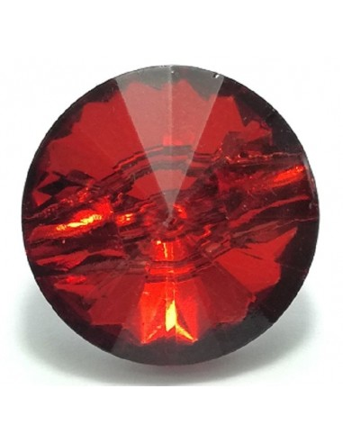 Glass Button 10 mm Light Siam - 1PZ