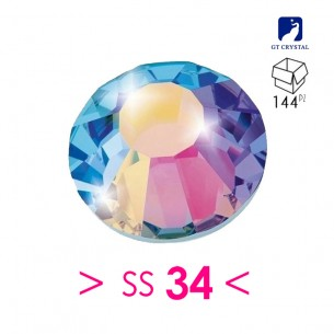 Rhinestones Strass GT Crystal Termoadesivo ss 34  Crystal AB - 144PZ Hotfix