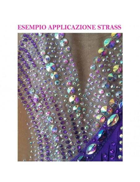 esempio applicazione Strass Rhinestones Swarovski XILION Rose ss 16 Crystal AB Termoadesivi Hotfix - 144PZ