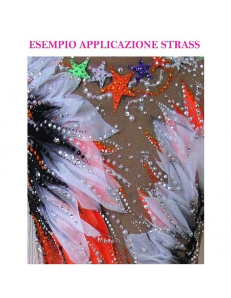 esempio applicazione Strass Rhinestones Swarovski XIRIUS Rose ss 12  Crystal AB Hotfix - 144PZ