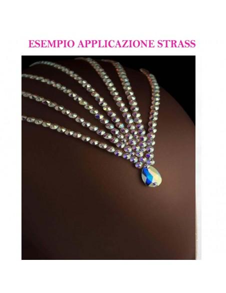 esempio applicazione Rhinestones Strass Swarovski XIRIUS Rose ss 34  Crystal AB - 144PZ