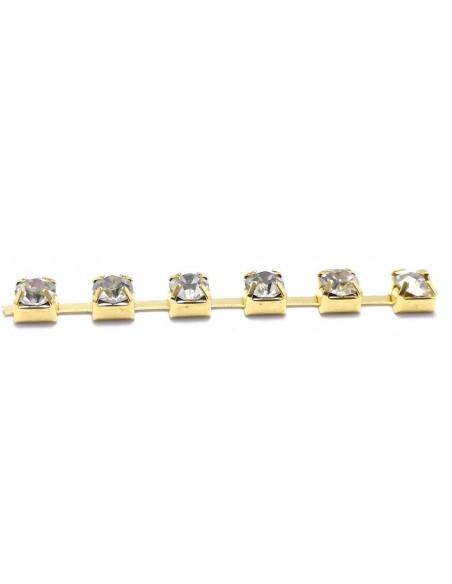 Catena Strass Distanziata ss 12  Crystal-Gold - 1MT