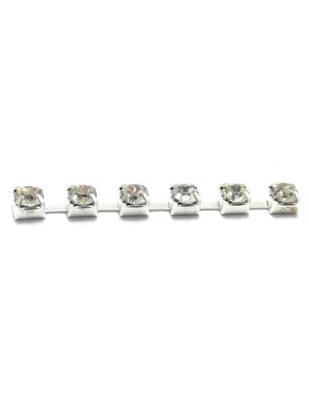 Catena Strass Distanziata ss 6,5 Crystal-Silver - 1MT