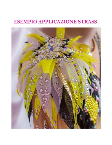 esempio applicazione Strass Rhinestones Preciosa Hotfix Termoadesivo ss 20  Olivine -  144 pcs
