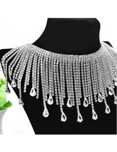 Frangia Strass Gioiello Alt. cm 10,5 Crystal-Silver - 20 CM
