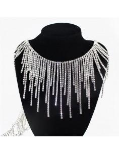 Frangia Strass Gioiello (Sfrangiata) Alt. cm 10 Crystal-Silver - 20 CM
