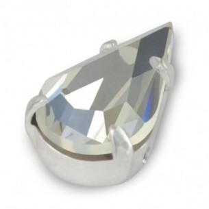 Goccia incastonata Preciosa mm 13x7,8 Crystal-Silver